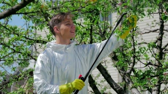 gut aussehende Kerl Spritzen Chemikalien in die Garten
