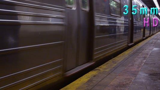 Thumbnail for Subway Train Leaving at Platform in Manhattan New York 07