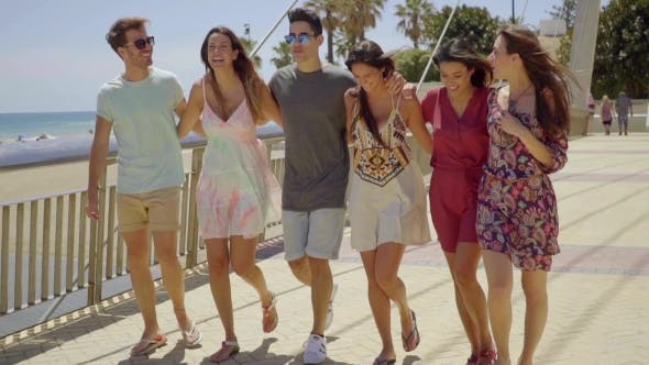 Thumbnail for Young Group Of Trendy Friends On Summer Vacation