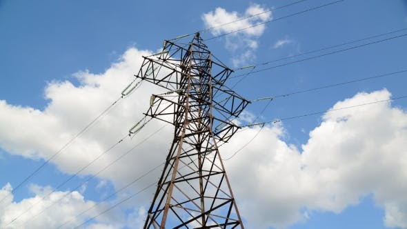 Thumbnail for High-voltage Power Line On Sky Background, Taymlapse