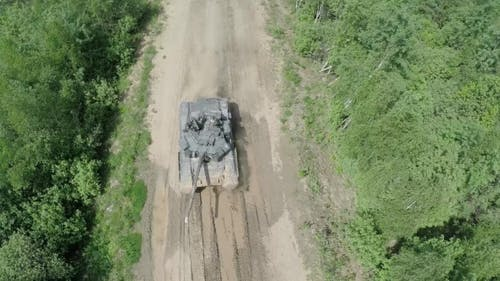 Flying Over The Tank In Rough Wooded Country