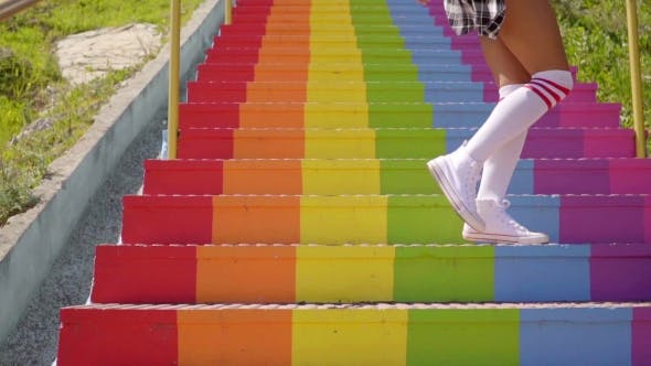 Thumbnail for Sexy Young Woman An a Flight Of Rainbow Stairs