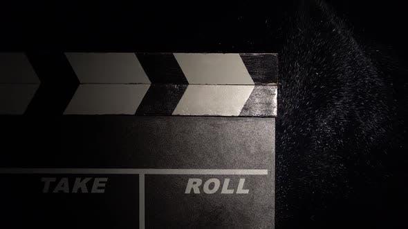Clapper Board Close Up. Black Background