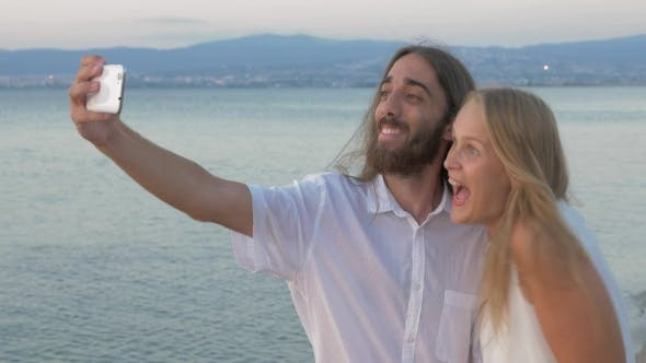 Thumbnail for Friends Making Happy And Positive Selfie On The Beach