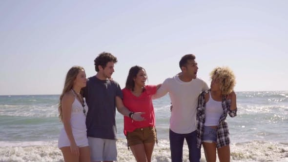 Thumbnail for Multiracial Group Of Young Friends On The Beach