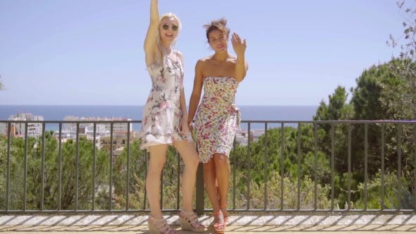Thumbnail for Two Happy Elegant Young Women Standing Waving