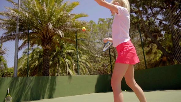 Thumbnail for Sexy Young Woman Serving At Tennis