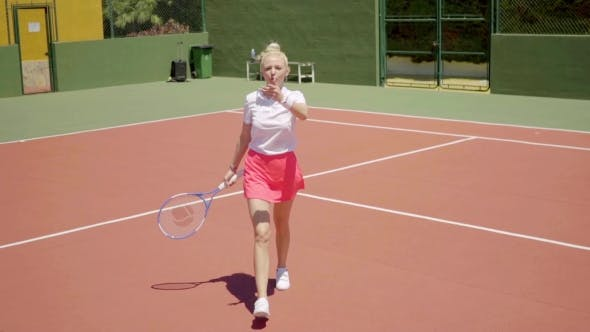 Thumbnail for Angry Young Woman Tennis Player Yelling On Court
