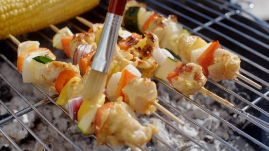 Thumbnail for Delicious Chicken And Vegetable Kabobs On Grill
