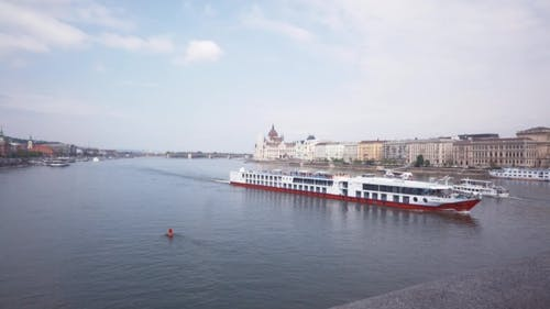 The Ship Floats On The River In Budapest