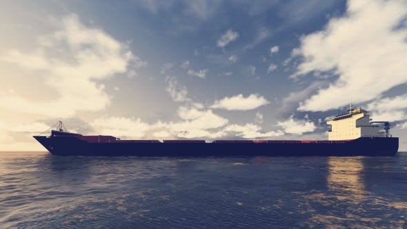 3D Cargo Ship On The Sea
