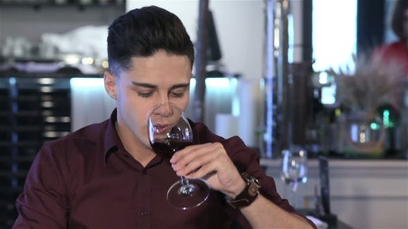 Thumbnail for Man Drinks Wine At The Restaurant