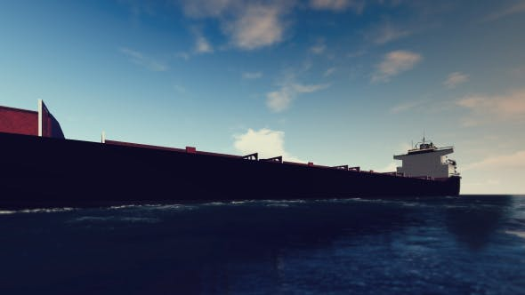 Thumbnail for 3D Cargo Ship On The Sea - Sunny Day