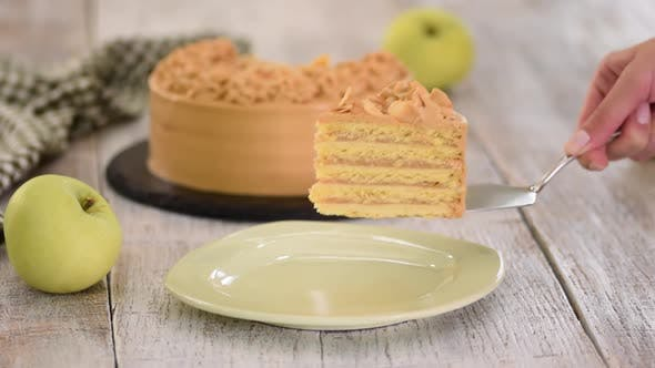 Thumbnail for Piece of Apple Layer Cake with Caramel Cream.