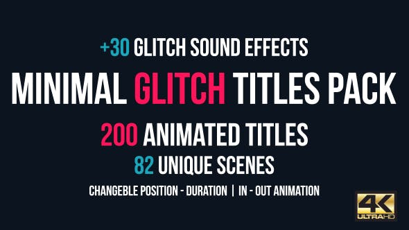 Thumbnail for Minimal Glitch Titles Pack + 30 Glitch Sound Effects