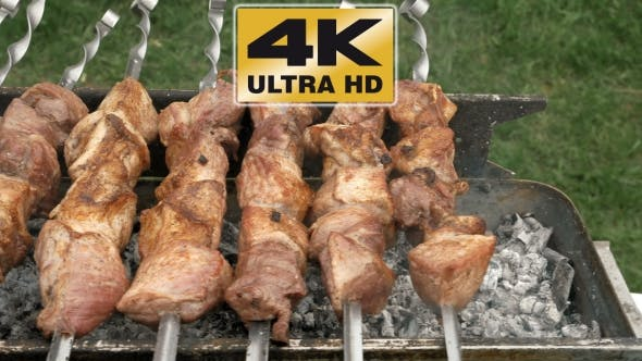 Thumbnail for Barbeque Skewers With Meat Cooking On Brazier