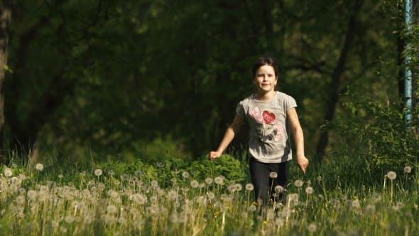 Thumbnail for Girl Runs On Dandelion Grass