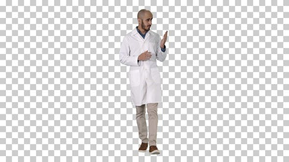Thumbnail for Middle age doctor man wearing medical uniform presenting and