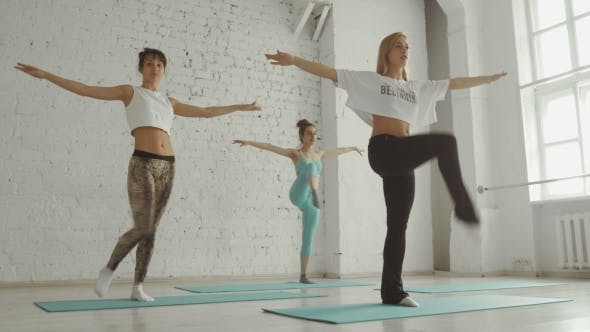 Thumbnail for Young Girls Doing Yoga, Group Of People In a Stretching Class, Healthy Lifestyle