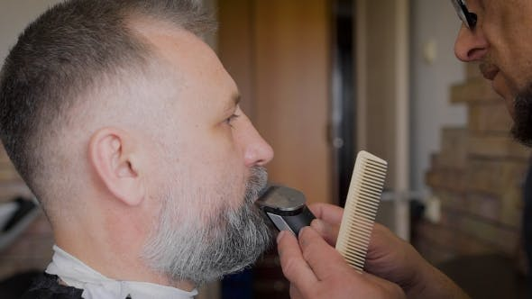 Thumbnail for Barber Trimming Beard To His Client. The Vintage Salon, Master Serving Man.