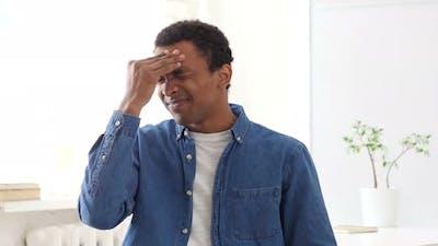 Headache, Stressed Afro-American Man, Portrait