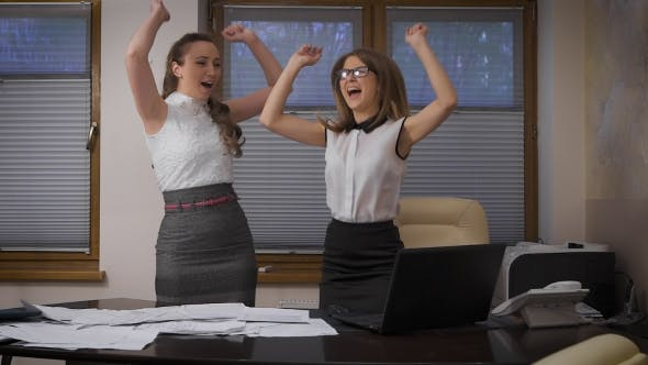 Thumbnail for Two Young Business Women Succeed. Enthusiastic Feelings About a Successful Sale.