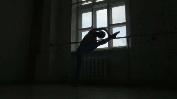 Thumbnail for Silhouette Of a Ballet Dancer Exercising At The Barre By The Window