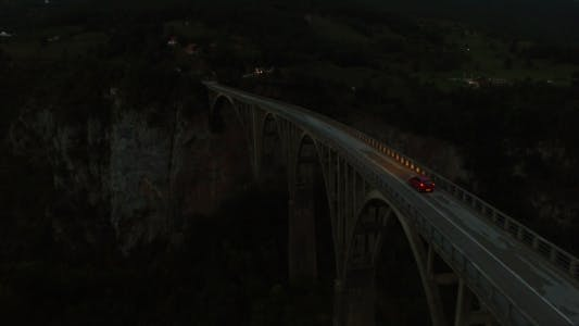 Thumbnail for Aerial Night View of Bridge and Car