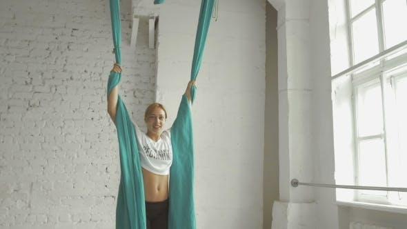 Pretty Woman - Aerialist Doing Acrobatic Tricks On Aerial Silks