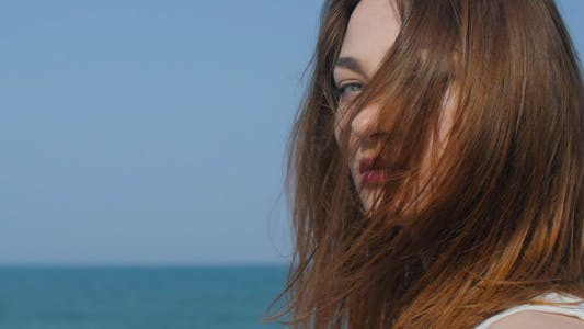 Thumbnail for Portrait of Beautiful Woman on the Seashore