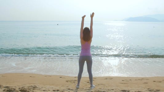 Thumbnail for Young Woman on Her Workout on the Beach
