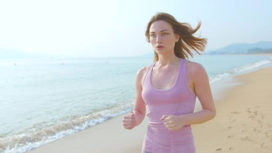 Thumbnail for Beautiful Girl Running on Beach