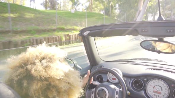 Thumbnail for Young Woman Driving Sports Car Or Cabriolet