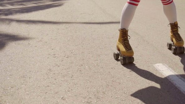 Cover Image for Vintage Roller Skater On The Street.