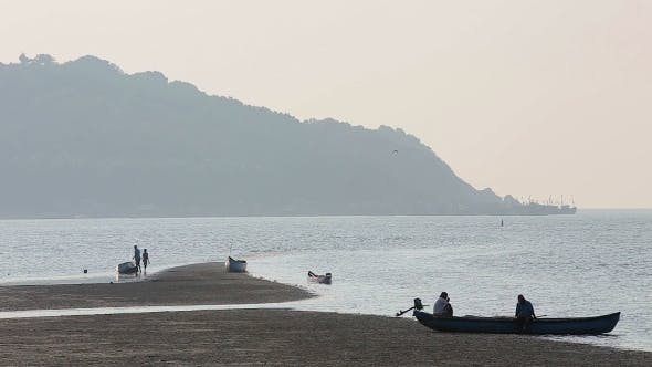 Thumbnail for Misty Tropical Seascape With Boats And Fishermen Silhouettes
