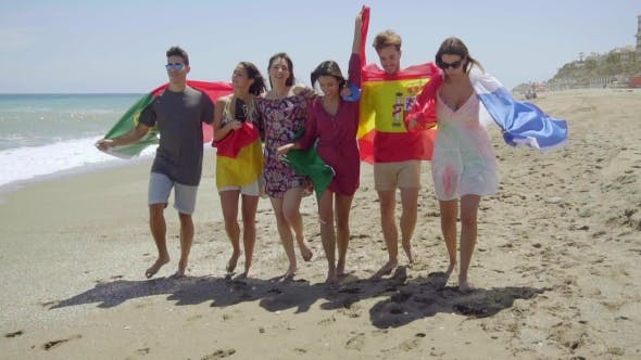 Thumbnail for Group Of Friends With Flags Walking On Sunny Beach