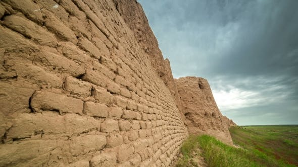 Cover Image for Brick Clay Wall Of The Ancient City Of Sauran, Kazakhstan