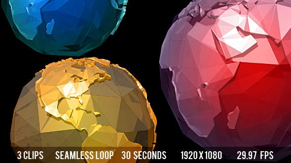 Glass Crystal Low Poly Planet Earth - 3 Colors