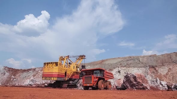 Thumbnail for Excavator Loads Ore Into Dump-truck.