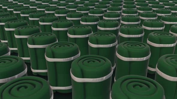 Multiple Green Sleeping Bags In A Row Hd