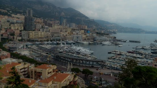 Thumbnail for Monaco, Monte Carlo, With Clouds Billowing Over Limestone Cliffs