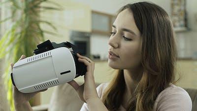Girl Trying VR Glasses