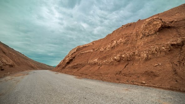 Road Through Red Canyon In Kazakhstan -
