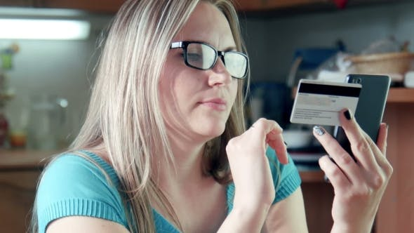 Cover Image for Beautiful Blonde Woman Doing Shopping Online Buying