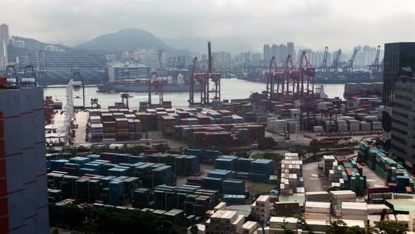 Thumbnail for Container Port Hong Kong Harbor with Cargo Ships Against City