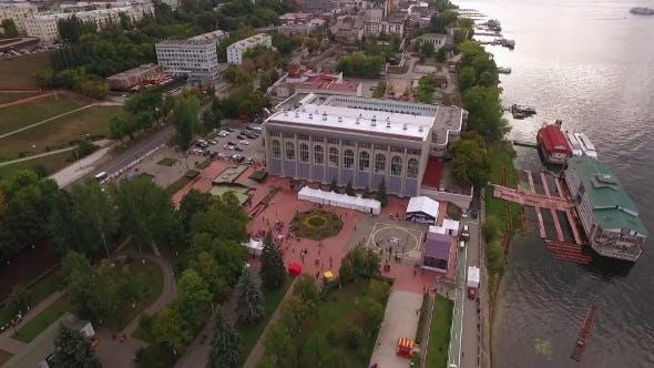 Thumbnail for Drone Flies Over Embankment Of Samara City