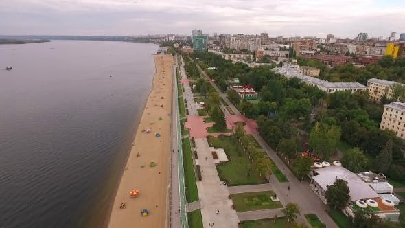 Thumbnail for Drone Flies Over Embankment And Beach Of Samara City