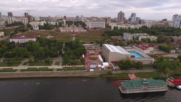 Thumbnail for Aerial Panorama Of Samara City: River, Church, Embankment