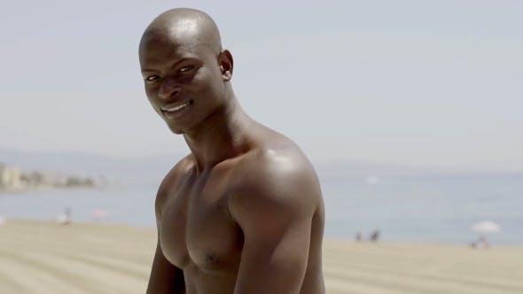 Of Handsome Shirtless Black Man
