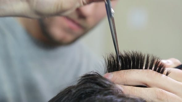Thumbnail for Man Hairdresser Doing Haircut In Hair Salon,